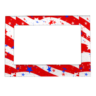 Independence Day Curved Stars and Stripes Photo Frame Magnets