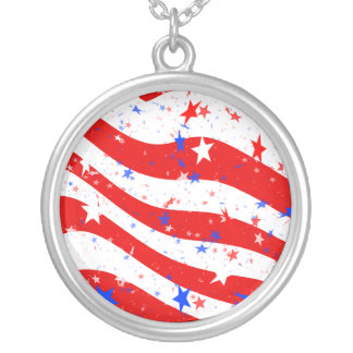 Independence Day Curved Stars and Stripes Round Pendant Necklace