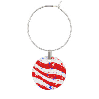 Independence Day Curved Stars and Stripes Wine Glass Charm