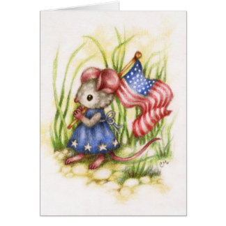 Independence Day - Cute Mouse Art Card