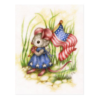 Independence Day - Cute Patriotic Mouse Postcard
