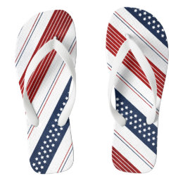 Independence Day Diagonal Stars and Stripes Flip Flops