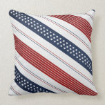 Independence Day Diagonal Stars and Stripes Throw Pillows