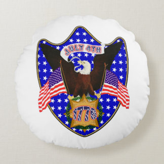 Independence Day Eagle Round Pillow