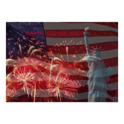 Independence Day Firework & Statue of Liberty Poster