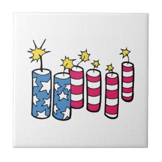 Independence Day Fireworks Ceramic Tile