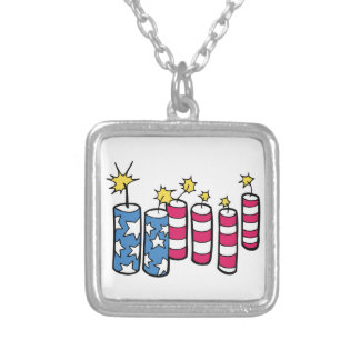 Independence Day Fireworks Silver Plated Necklace