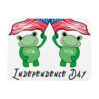 Independence Day Frogs Rectangular Magnet