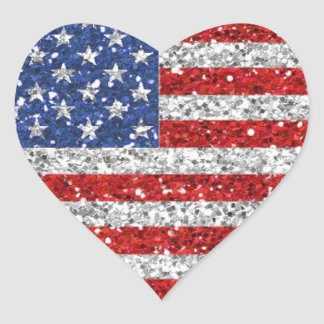 Independence Day Glitter Heart Stickers