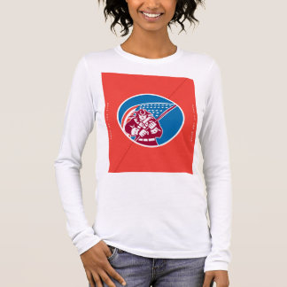 Independence Day Greeting Card-American Patriot Ho Long Sleeve T-Shirt