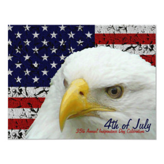 Independence Day Grunge USA flag & Eagle 4.25x5.5 Paper Invitation Card
