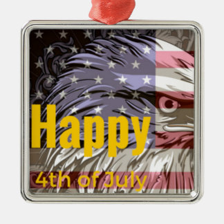 Independence Day - Happy 4th (fourth) July Metal Ornament