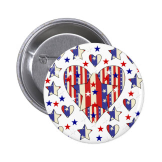 Independence Day Hearts Button