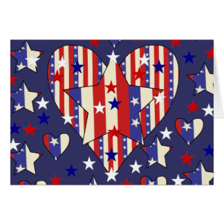 Independence Day Hearts Greeting Card