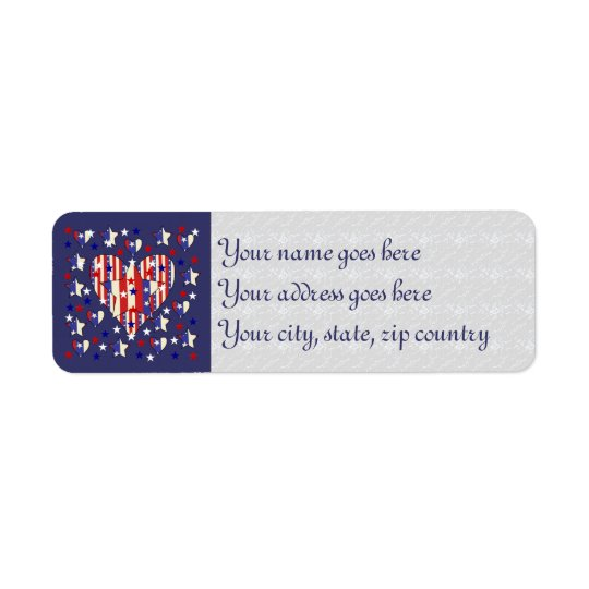 Independence Day Hearts Label