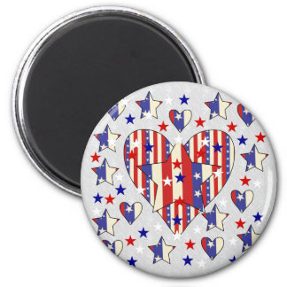 Independence Day Hearts Refrigerator Magnet