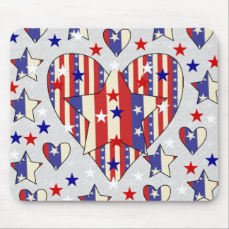 Independence Day Hearts Mouse Pad