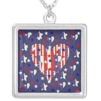 Independence Day Hearts Silver Plated Necklace