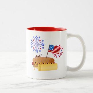 Independence Day Hotdog Two-Tone Coffee Mug