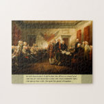 """Independence Day Jigsaw Puzzle<br><div class=""""desc"""">This jigsaw puzzle features a reproduction of the oil painting """"Declaration of Independence"""" by John Trumball. It depicts the historic signing of the Declaration of Independence as it occurred on July 4th of 1776. Beneath the image is a well-known passage from the historical document.</div>"""