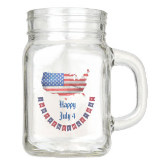 Independence Day July 4 American Flag USA Country Mason Jar