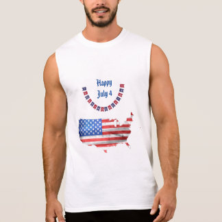 Independence Day July 4 American Flag USA Country Sleeveless Shirt
