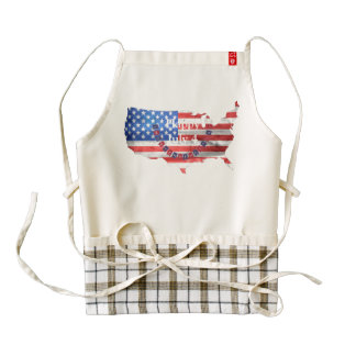 Independence Day July 4 American Flag USA Country Zazzle HEART Apron