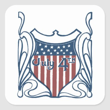 Independence Day July 4th Vintage Shield w/Stars Square Sticker