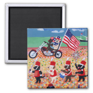 Independence Day Labradors 2 Inch Square Magnet