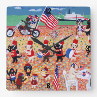 Independence Day Labradors Square Wall Clock