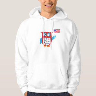 Independence Day Owl Hooded Pullover