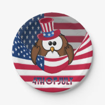Independence Day owl Paper Plate