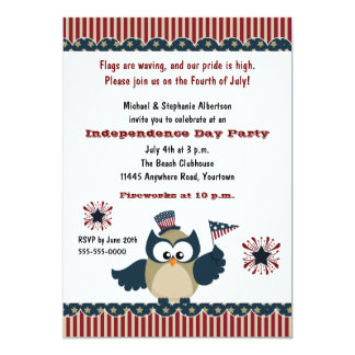 Independence Day Owl Party 5x7 Paper Invitation Card
