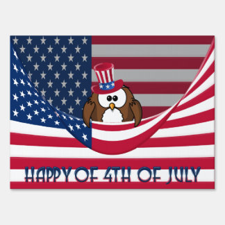 Independence Day owl Sign