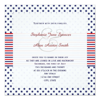 Lovely Independence Day Patriotic Wedding Invitation