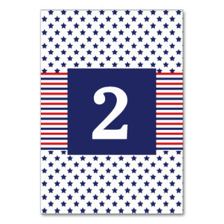 Independence Day Patriotic Wedding Table Number