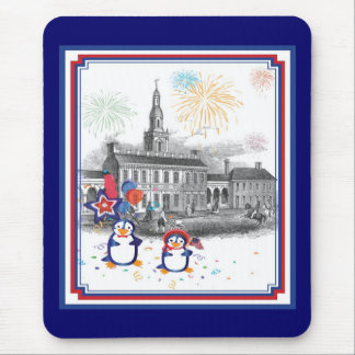 Independence Day Penguins Mousepad