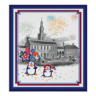 Independence Day Penguins Print