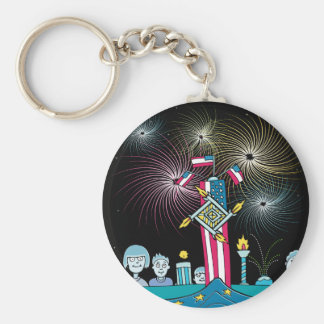 Independence Day People Watching Fireworks Keychain