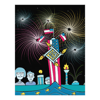 Independence Day People Watching Fireworks Letterhead