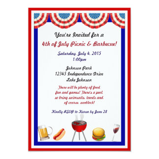 Independence Day Picnic and Barbecue Invitations