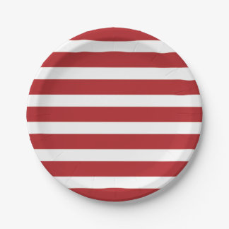 Independence Day Red and White Stripes Paper Plate