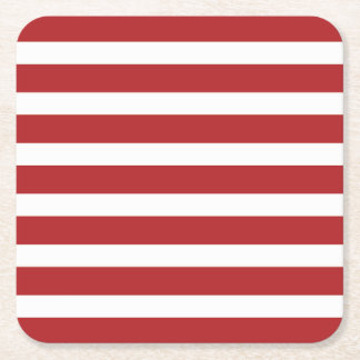 Independence Day Red and White Stripes Square Paper Coaster