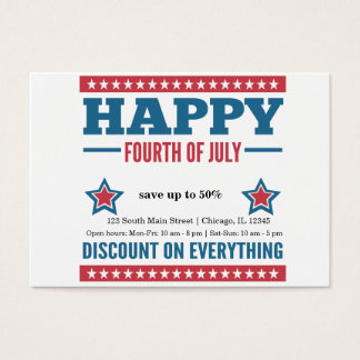 Independence day sale business card