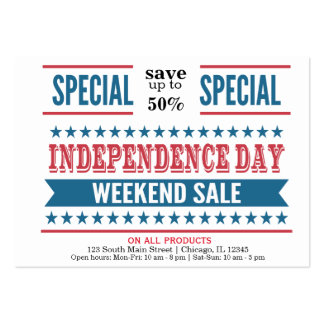 Independence day sale large business card