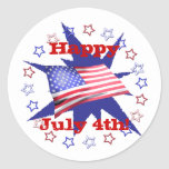 Independence Day Star Circle Classic Round Sticker