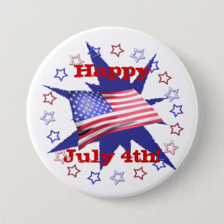 Independence Day Star Circle Pinback Button