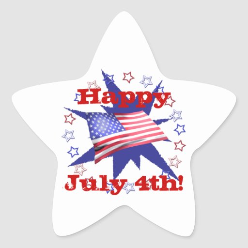 Independence Day Star Circle Star Sticker