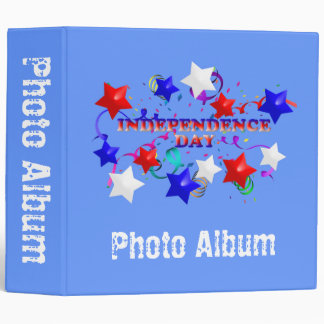 Independence Day Stars and Confetti Photo Album Te 3 Ring Binders