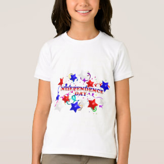 Independence Day Stars Confetti Girls Ringer Tee